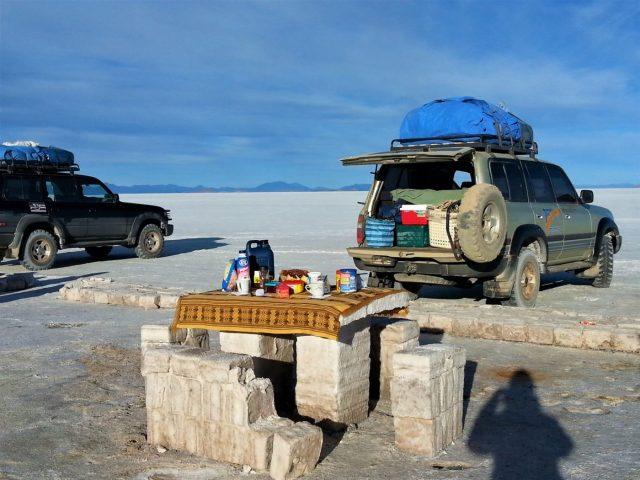 Uyuni Salt Flats: El Salar de Uyuni Tour in Bolivia - Setting up for Breakfast at Isla Incahuasi