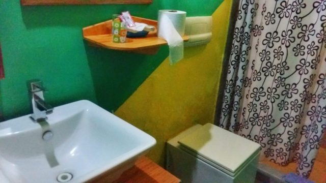 My private bathroom - and square toilet - at the Cuna Maya Hotel Copan Ruinas Honduras