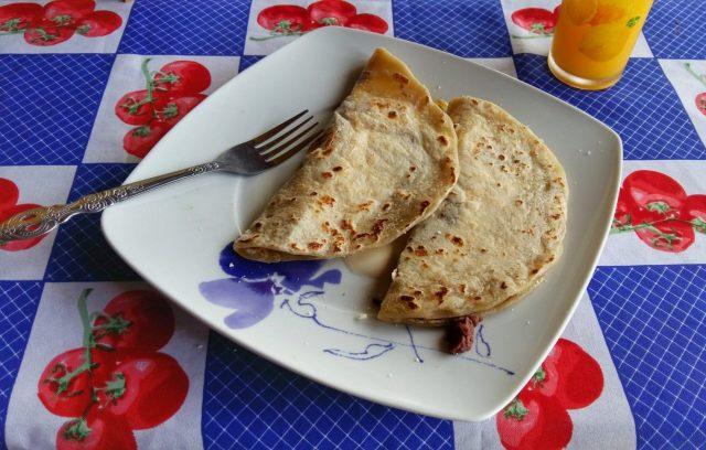 Baleadas for breakfast at the Cuna Maya Hotel Copan - Honduran style!
