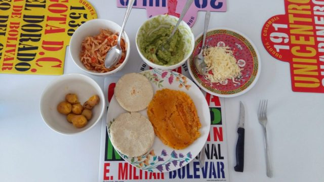 The table laid with all the food from mycooking class with 5 Bogota - what to in Bogota