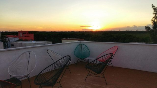 The perfect place to chill & watch the sunset from the Mermaid Hostel Beach roof terrace!