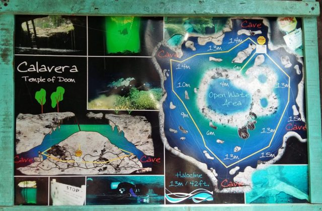 Cenote Diving in Tulum with Koox Diving. The map at Calavera Cenote - The Temple of Doom