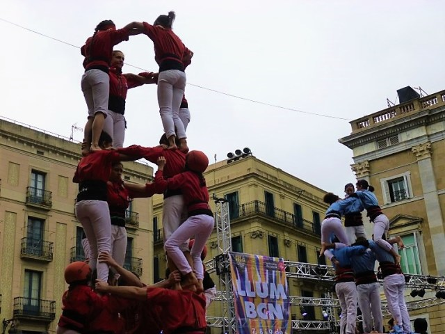 Incredible Human Tower Builders Castellers performing at a free festival in Barcelona.