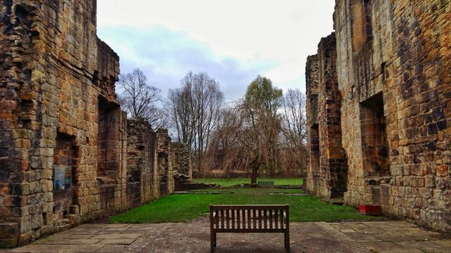 Rest for a moment on a bench inside Kirkstall Abbey Leeds - things to do in Leeds England Yorkshire