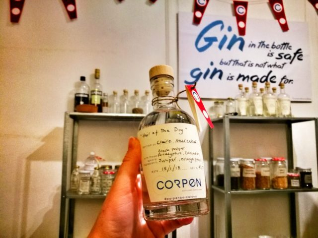 A proud moment - My homemade gin from the gin making class with Corpen Distillers in Barcelona