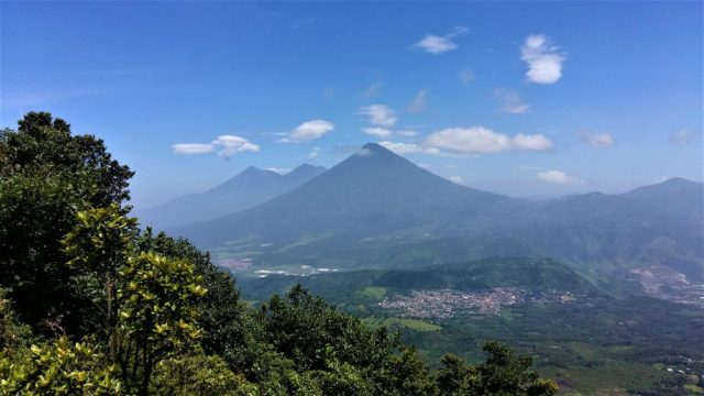 The gorgeous view of Antigua Guatemala's other volcanoes - from hIking the Pacaya Volcano