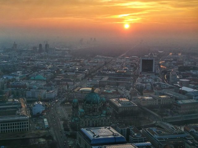 Watching the sunset from the Berlin TV Tower