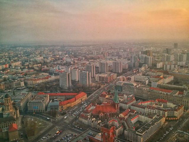 Evening views from the Berlin TV Tower