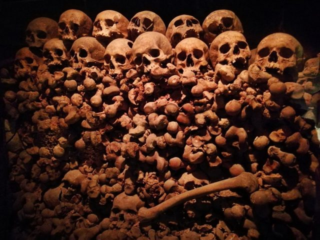 Piles of bones at the Ossuary of St James' Church in Brno Czech Republic