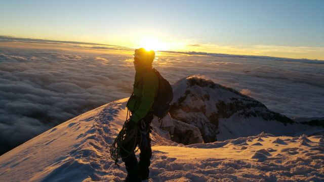 Watching the sunrise from Cotopaxi Volcano in Cotopaxi National Park Ecuador