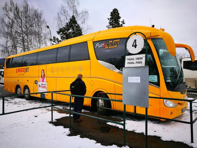 The Regiojet Student Agency Bus from Prague to Cesky Krumlov