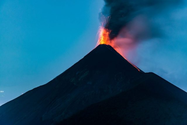 Fuego Volcano Erupting at night - the Highlight of the Acatenango Hike