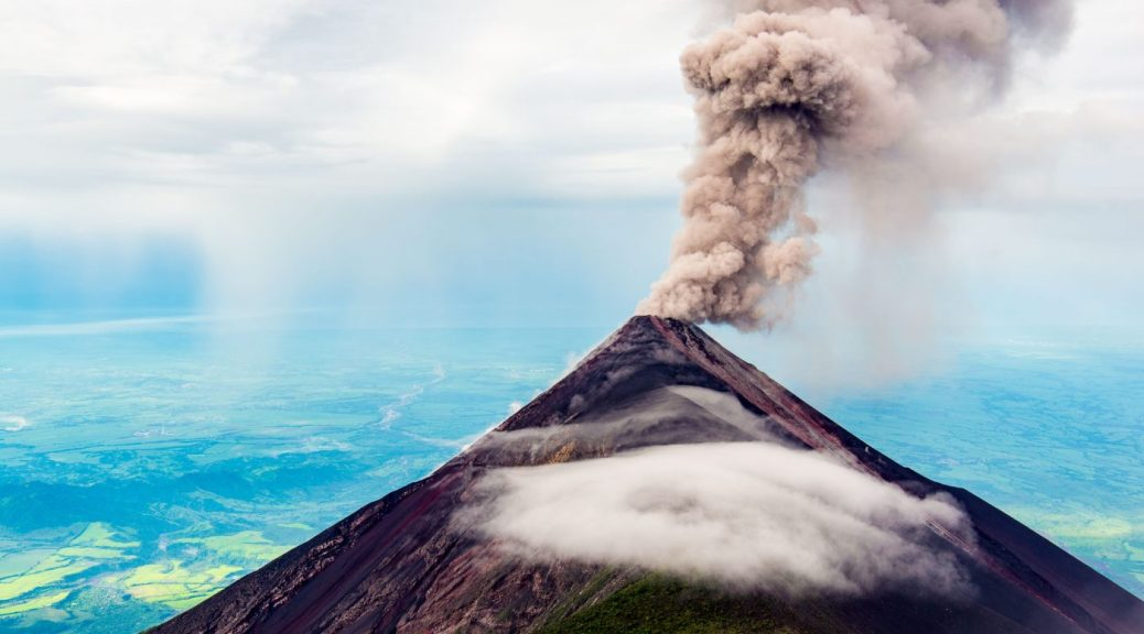 Fuego Volcano Spewing Smoke & Ash - The view from Volcano Acatenango