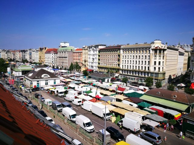 The view of Naschmarkt from my room at Wombat's Vienna - Staying in a hostel for the first time