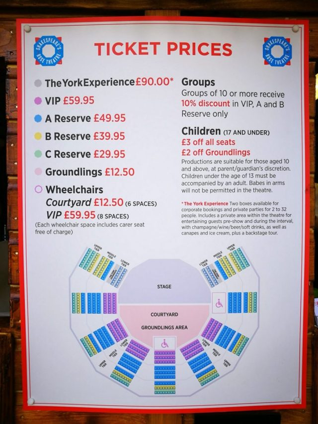 Ticket costs and Seat Plan for the Rose Theatre York