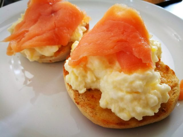 Smoked Salmon and Scrambled Eggs - Breakfast at the Riviera Guesthouse in Whitby