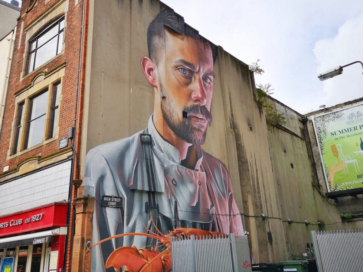 Belfast Street Art - a Chef with a Lobster