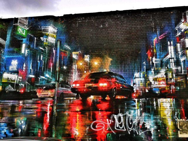Belfast Street Art - A Night-time street