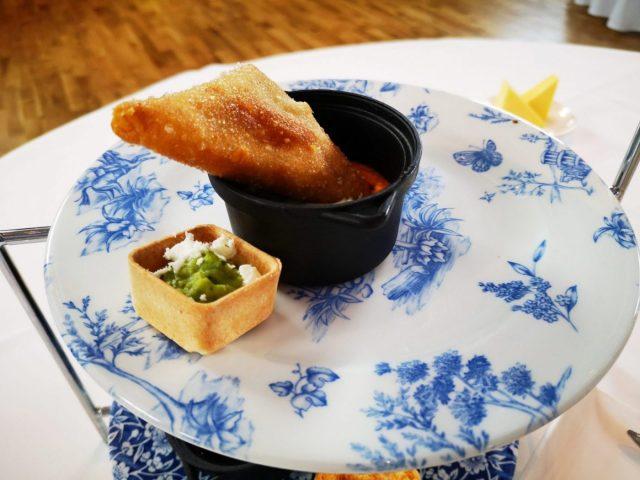 Samosa and mini tartlet - part of afternoon tea at the Titanic