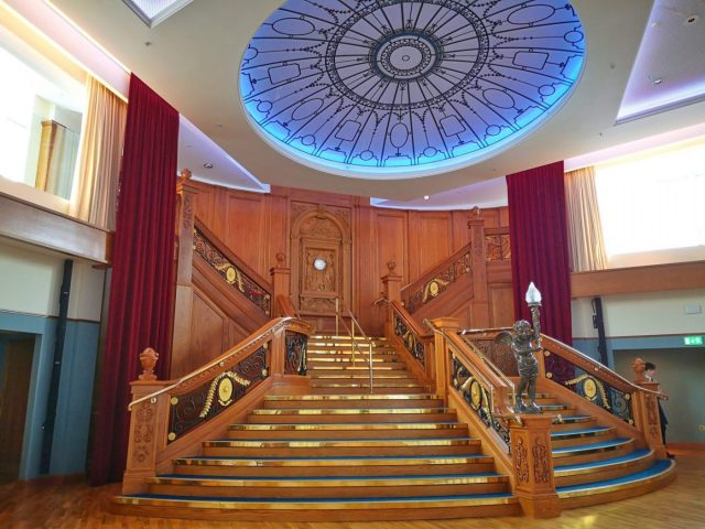The Grand Staircase & Circle Window at the Titanic Museum Belfast