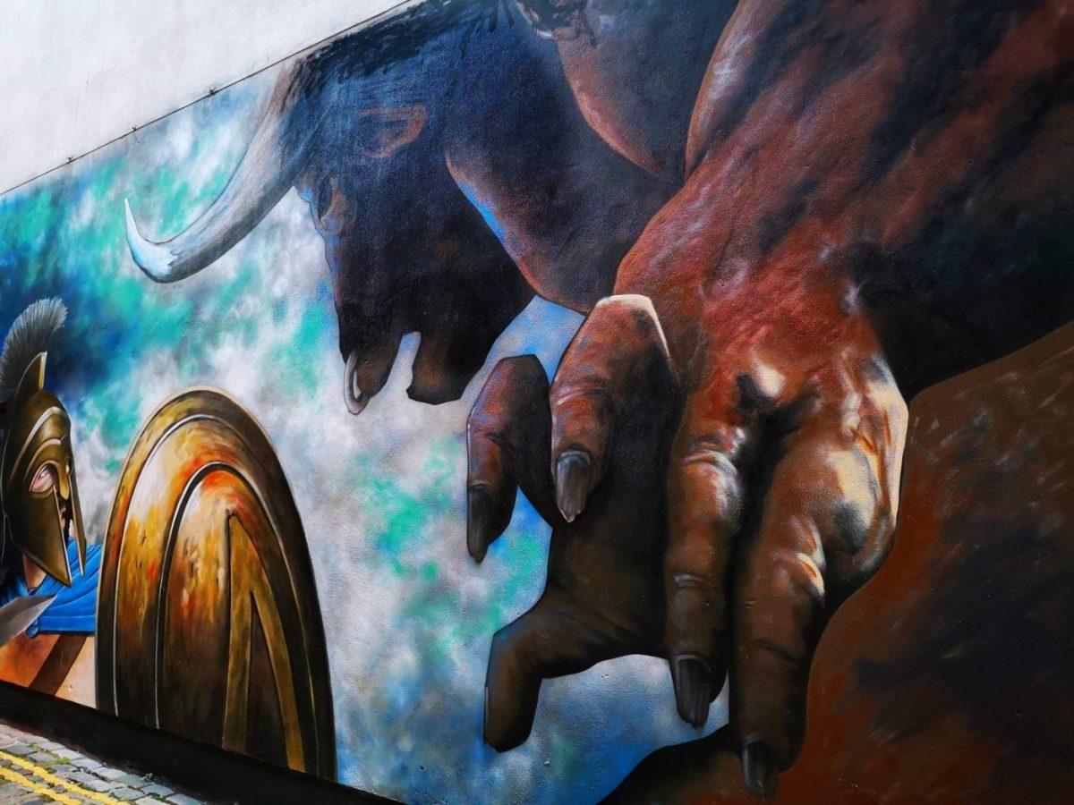 Belfast Street Art - A Minotaur attacks