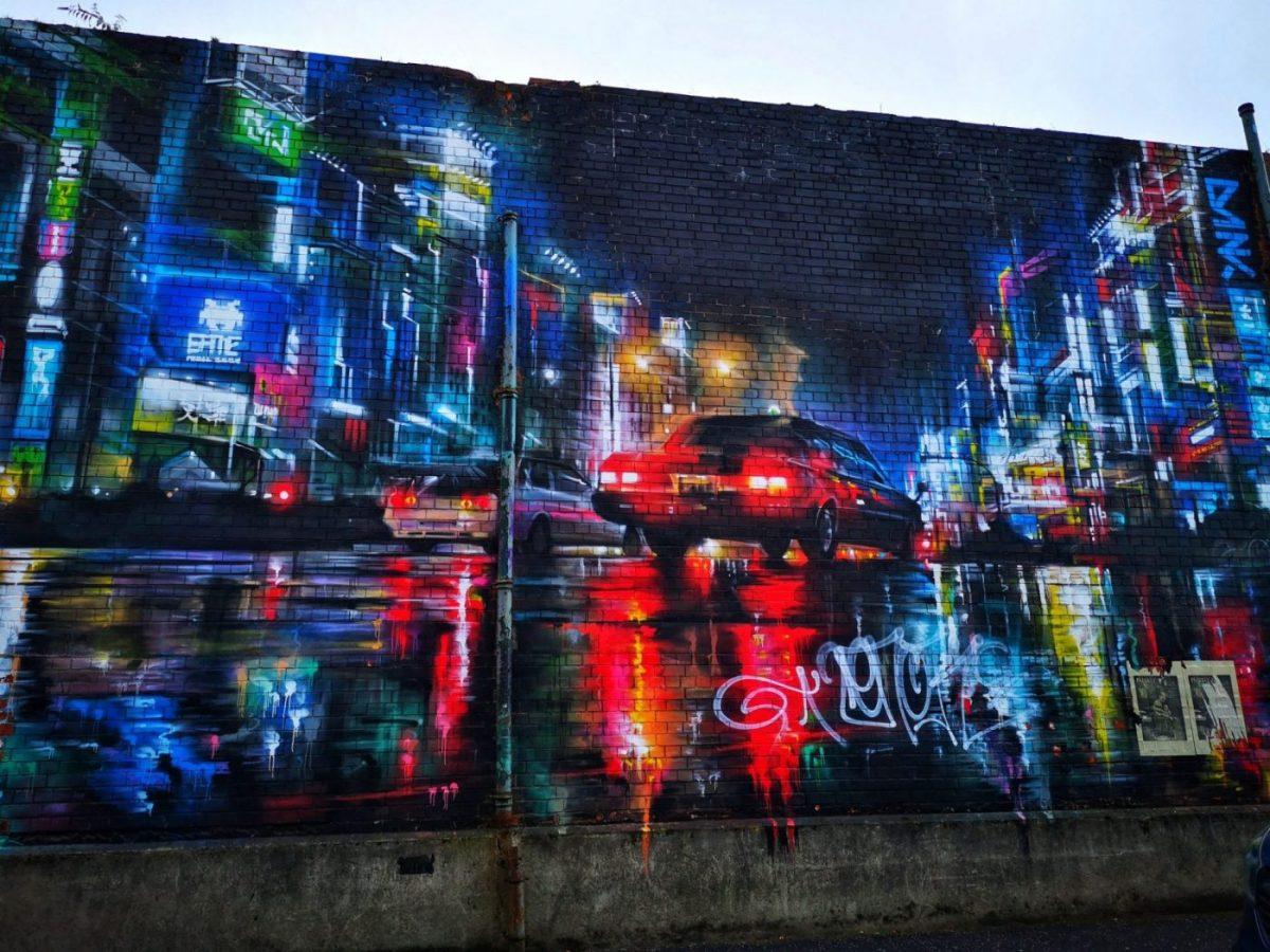 Belfast Street Art - Neon lights in the street