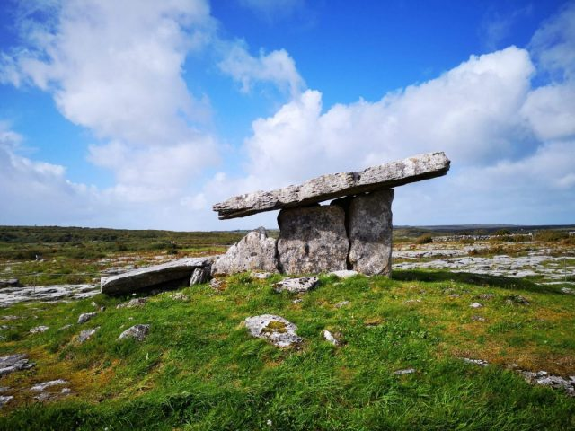 Poulnabrone - a stone-age portal tomb. Another photo stop while touring southern Ireland