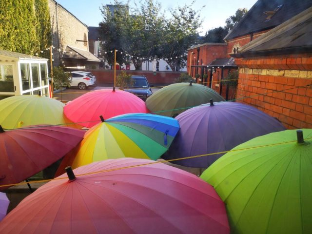 Hostels in Dublin - The colourful smoking area at the Gardiner House Hostel Dublin