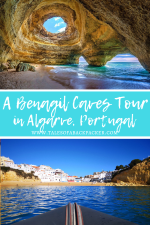 Benagil Sea Cave is the most famous cave in Portugal, but there are lots of Algarve caves to explore, as the whole of the Algarve coastline is filled with caverns, caves archways and bizarre rock formations.  The best way to enjoy all of the caves and the coastline is to take a Benagil Cave tour which will get you up close and personal to the Benagil caves in Portugal and show you the rest of the coastline at the same time.  Here are my tips for choosing the best Benagil sea cave tours for you. #BenagilCave #Portugal #Algarve #Europe #ThingstodoinPortugal #SeaCave
