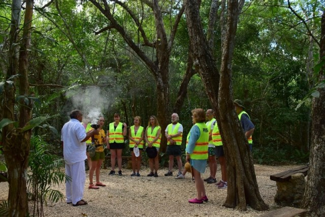 Maya Shaman gives our group a blessing - Cancun Excursion to Coba & Maya Village