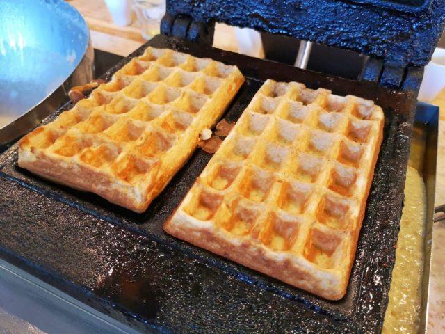 Freshly made waffles for breakfast at the Good Morning Hostel Lisbon