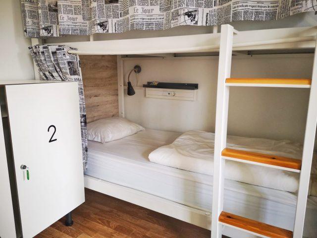Dorm room lockers at the Good Morning Hostel Lisbon