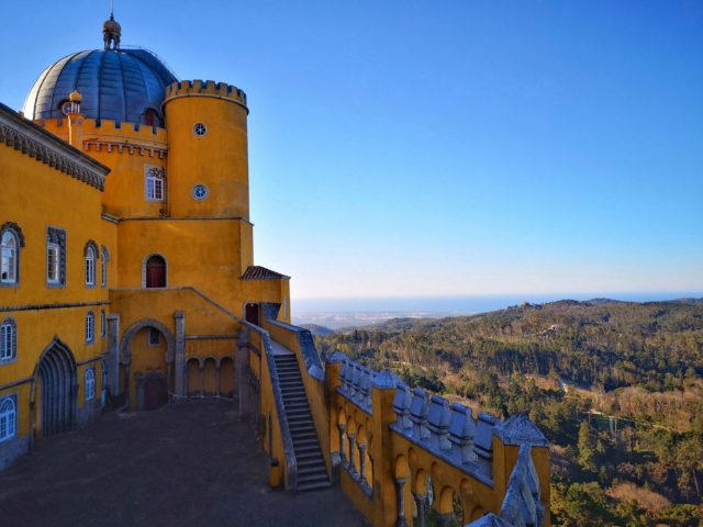 Pena Palace Sintra - Terrace View of the Yellow Turrets