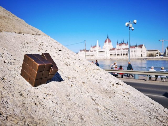 A Rubik's Cube statue on the banks of the Danube