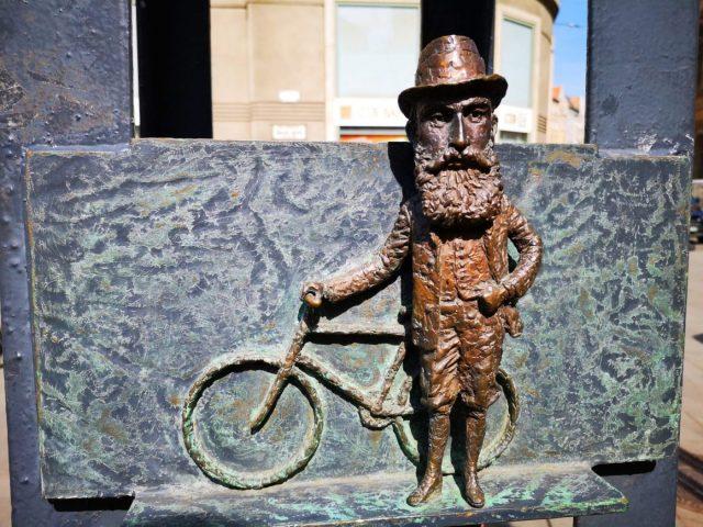 A miniature bronze statue on our Budapest Street Art Tour