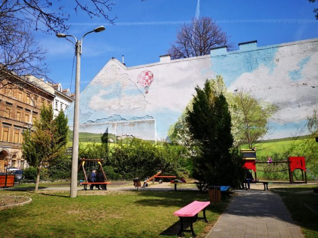 Other street art in Budapest simply brightens up a park