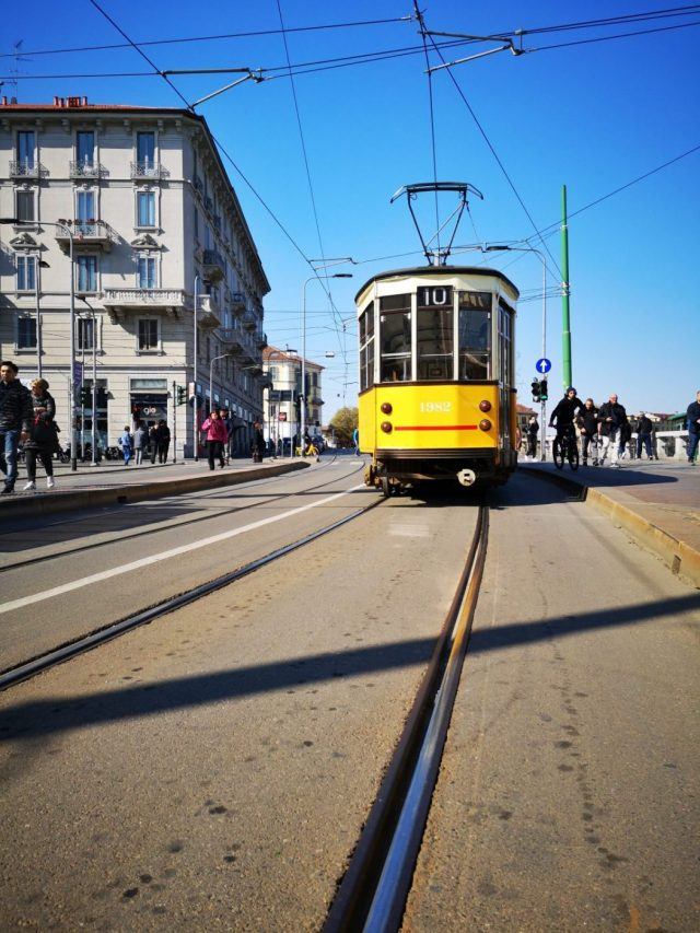 Tram spotting close to Navigli in Milan