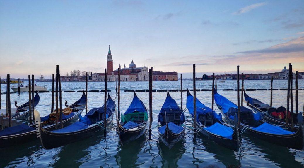 Gondolas with the island of San Giorgio Maggiore in the background