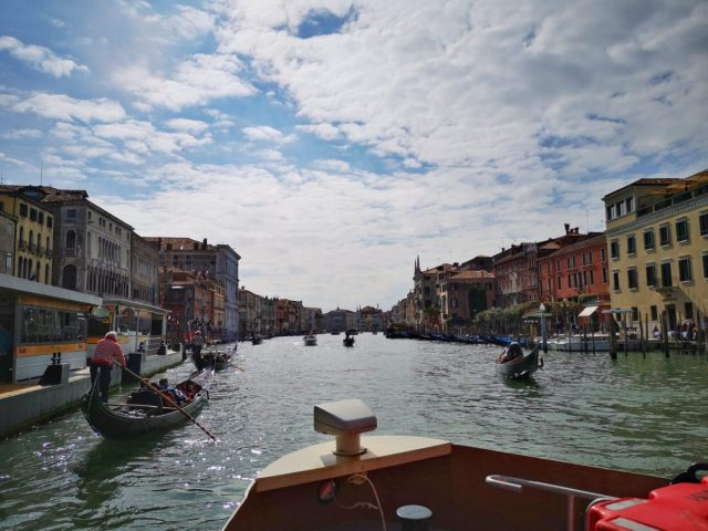 At the Front of a Vaporetto on the Grand Canal - Public Transport in Venice