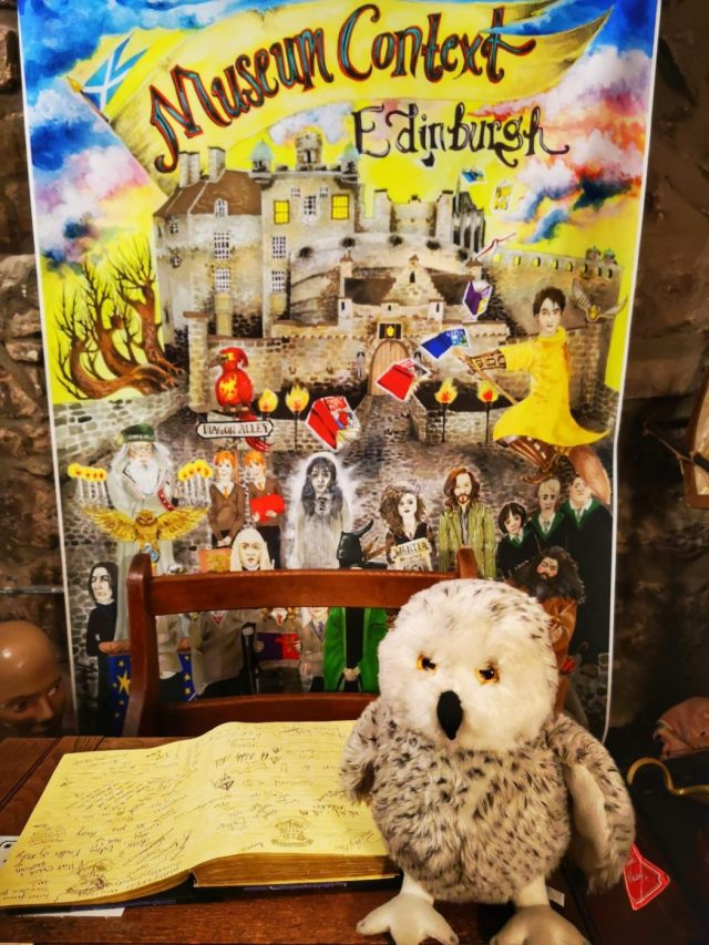 The Perfect Spot for a Harry Potter Photo Op - Hedwig Stuffed toy owl on a Hogwarts Desk