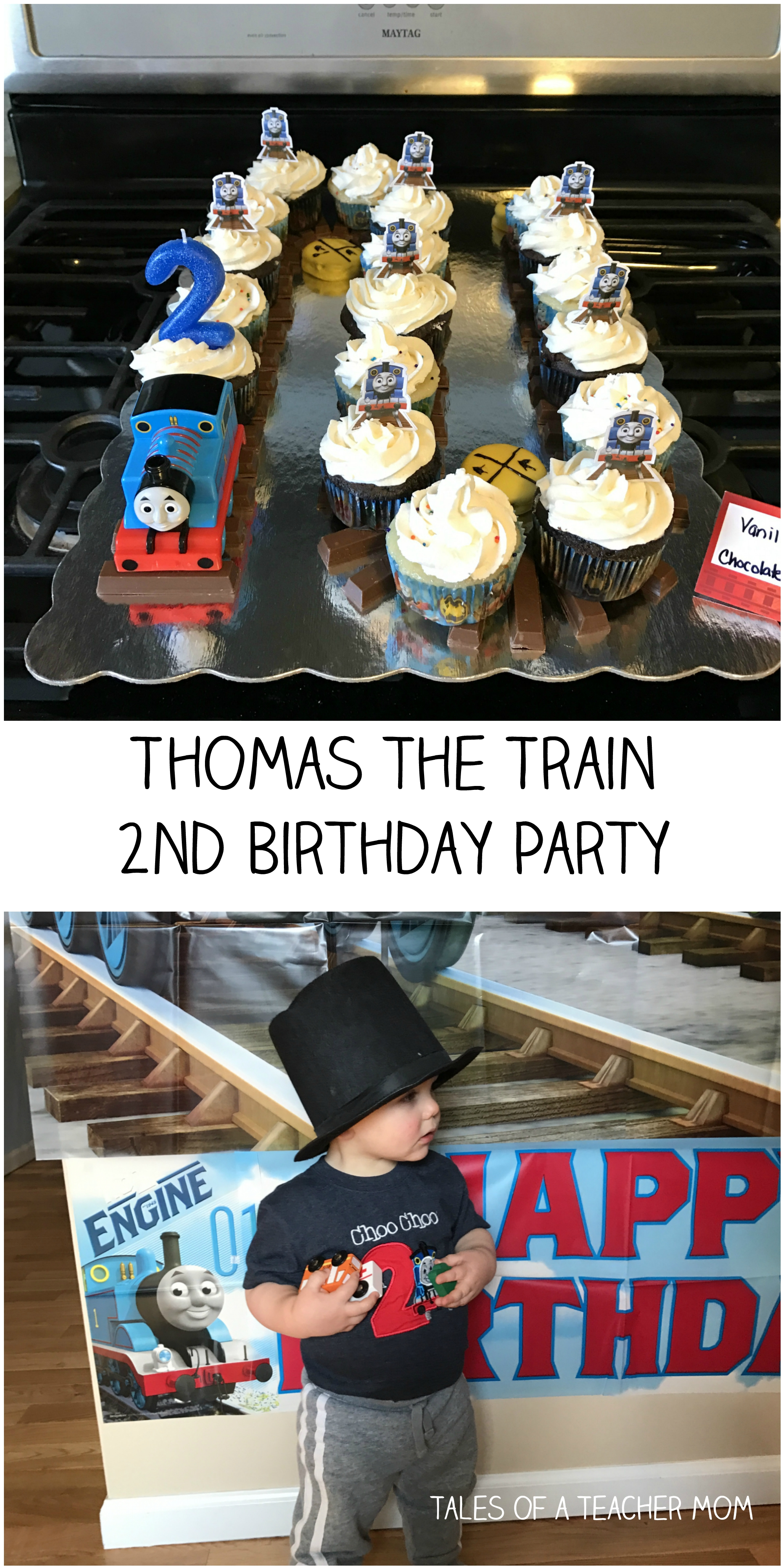 photograph about Free Printable Thomas the Train Cup Cake Toppers identified as Thomas the Coach 2nd Birthday Occasion - Stories of a Trainer Mother