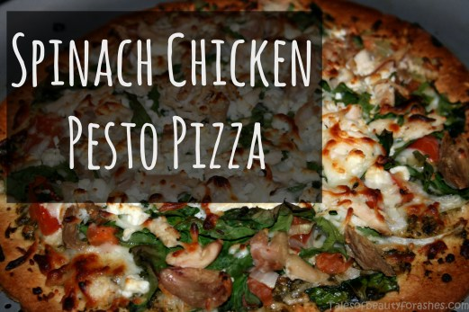 Spinach chicken pesto pizza