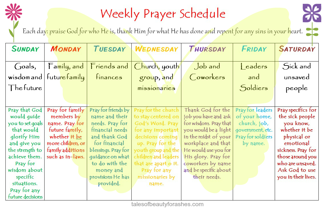 Weekly Prayer Schedule Tales Of Beauty For Ashes