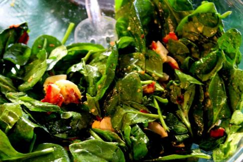 Wilted Spinach Salad with bacon and egg (6)