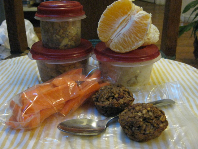 sofrito rice mix, classy pork & beans, orange, yogurt/fruit, carrot sticks, mini muffins
