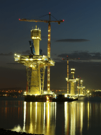 Towers at night, Queensferry Crossing, November 2014