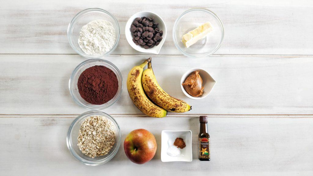 Apple, banana, brownie cookie ingredients