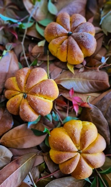 Pumpkin shaped Pumpkin Buns