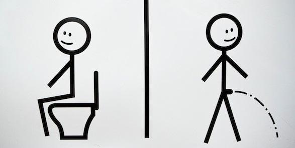 Man peeing sitting down