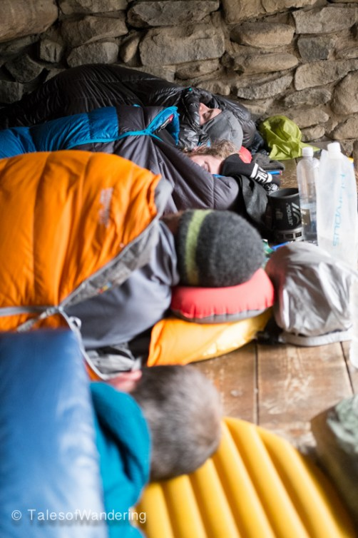 Waking up in the shelter. There are few campsites here so we all just slept in the shelter.